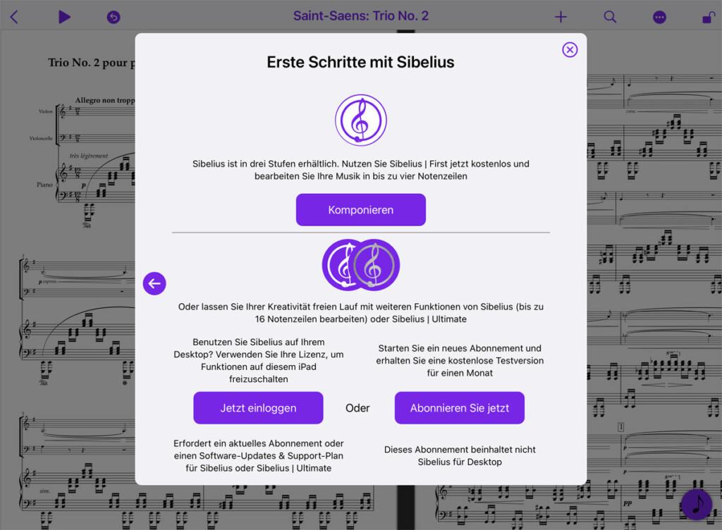 Sibelius für Mobil - Wählen SIe Ihre SIbelius Version
